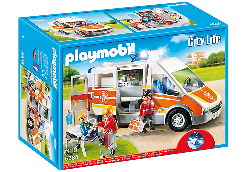playmobil krankenwagen mit licht sound 6685 playmobil spielwaren gongoll freizeit. Black Bedroom Furniture Sets. Home Design Ideas