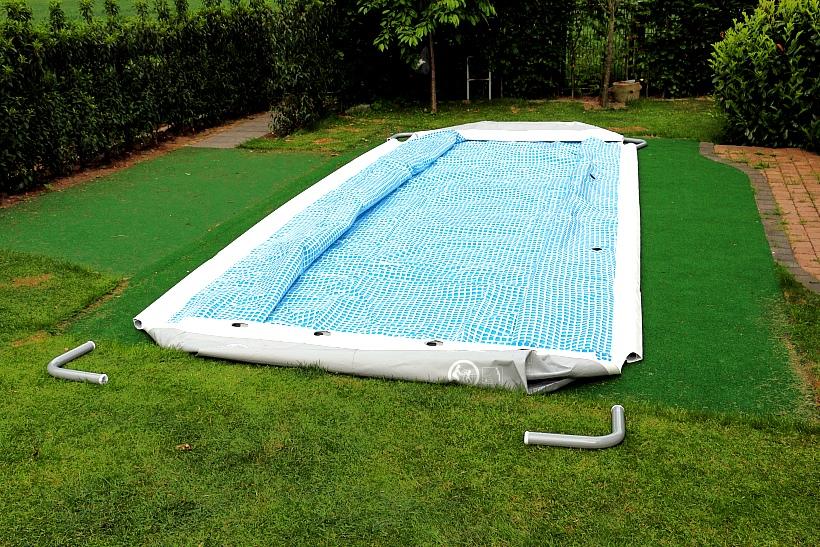 intex ultra frame pool aufbau  wenigen schritten