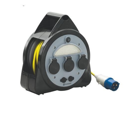 Outwell 3-Wege-Netzkabeltrommel mit USB/Lampe Mains 650296