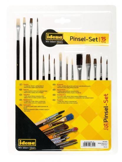 Pinsel-Set, 15-teilig, mit Haar-, Borsten- und Aquarellpinsel 626345